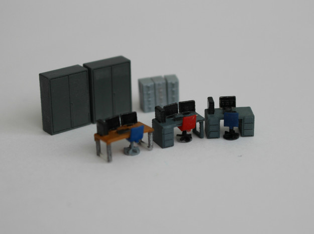 N Scale Office Furniture in Smooth Fine Detail Plastic