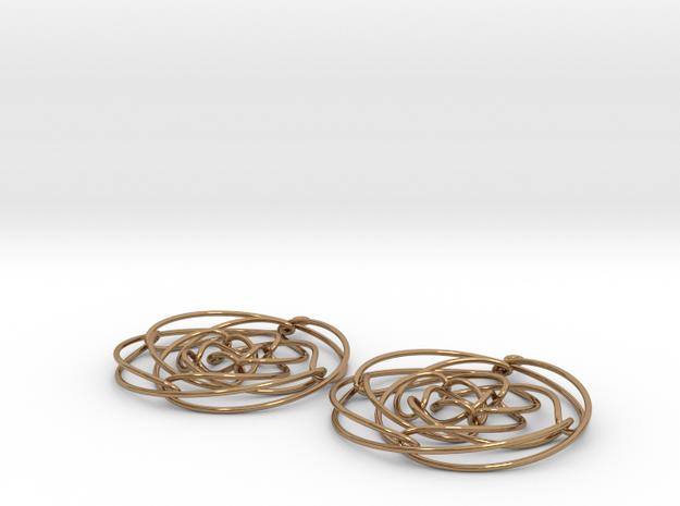 EARRINGS-3D curve_4x8x16 in Polished Brass