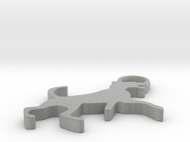 Keychain Dog Jumping 3mm thick Beta in Metallic Plastic