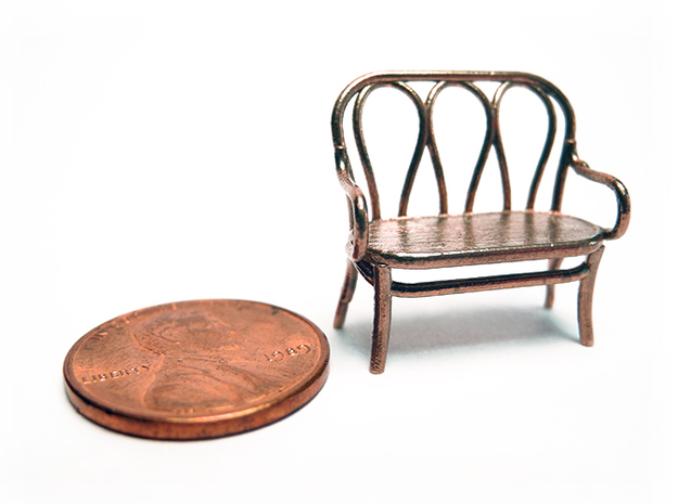 Pair of 1:48 Bentwood Settees 3d printed Shown with a penny for scale