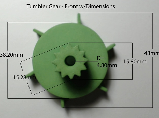 Tumbler Gear replacement 3d printed Actual product dimensions-Front view