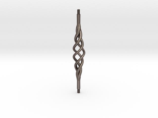 Industrial Bar Tri-Spiral in Polished Bronzed Silver Steel