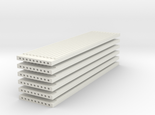 'N Scale' - (6) Precast Panel - Ribbed - 40'x10'x1 in White Natural Versatile Plastic