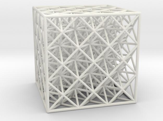 Octet Truss Cube (3x3x3)  in White Natural Versatile Plastic