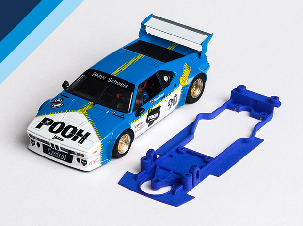 1/32 Chassis for Fly BMW M1 for Slot.it pod in Blue Processed Versatile Plastic