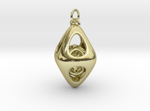 Tetrahedron Cage Pendant  in 18k Gold Plated Brass