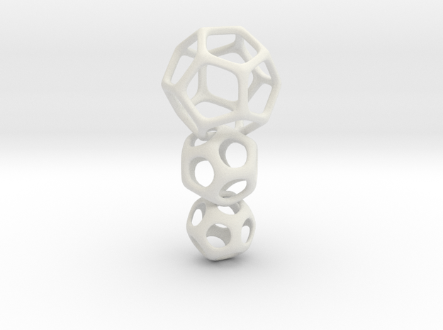 Interlocked Platonic Pendant - 3pts in White Natural Versatile Plastic