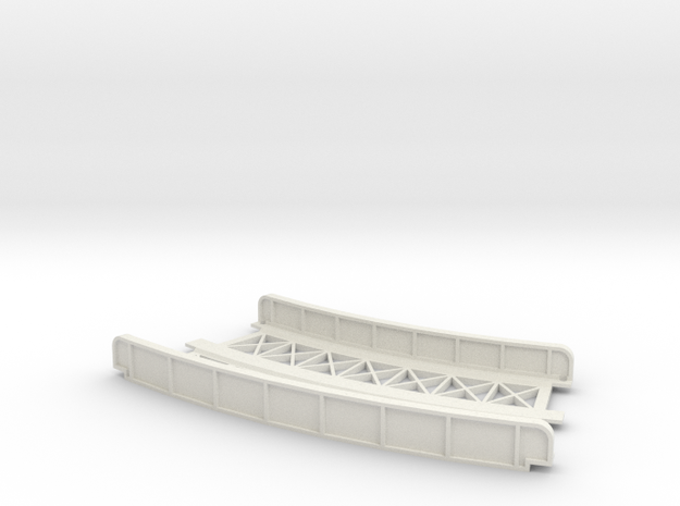 CURVED 195mm-220mm 30° DOUBLE TRACK VIADUCT in White Natural Versatile Plastic