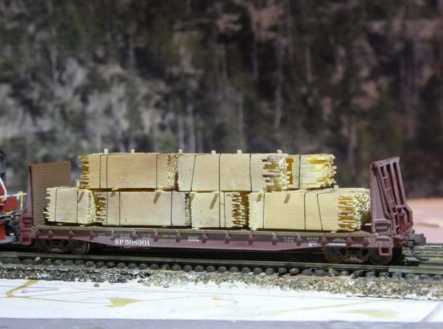 2x4 2x8 And 4x4 Lumber Load, N Scale, Flat Car in Smooth Fine Detail Plastic
