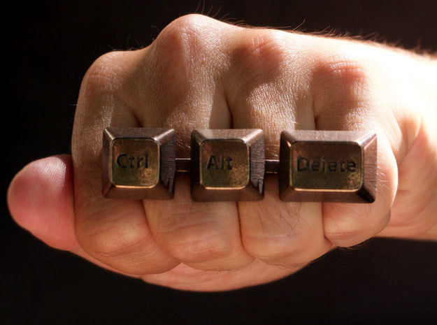 Ctrl+Alt+Del Statement Ring in Polished Bronze Steel: 9 / 59