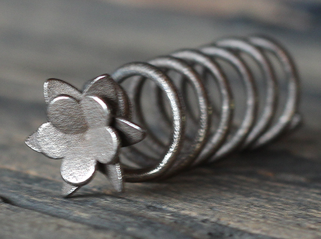 Helix Hair Pin Flower in Polished Bronzed Silver Steel