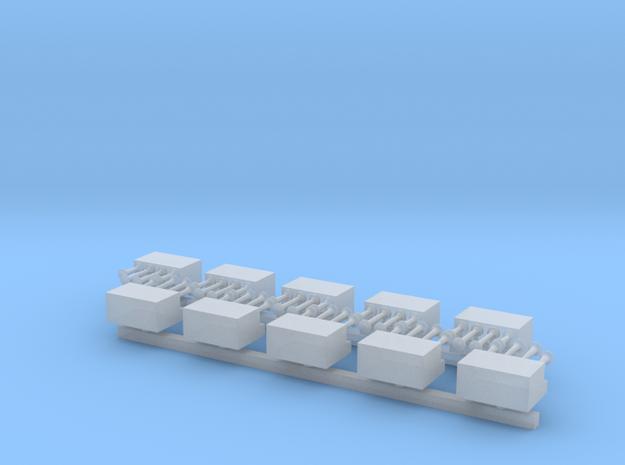 4x Presslufthörner mit Kompressorkasten - 1/87 10x in Frosted Extreme Detail