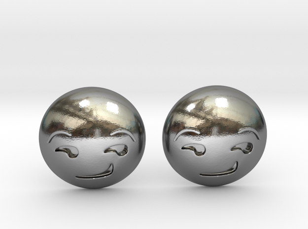 Smirk Face Emoji in Polished Silver