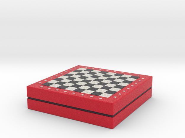 Chess board on storage box various scales in Full Color Sandstone: 1:24