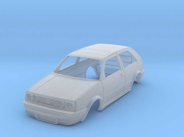 Miniature VW gol MK2 in Smooth Fine Detail Plastic