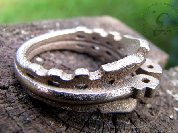 MechaRing Size 10 in Polished Bronzed Silver Steel