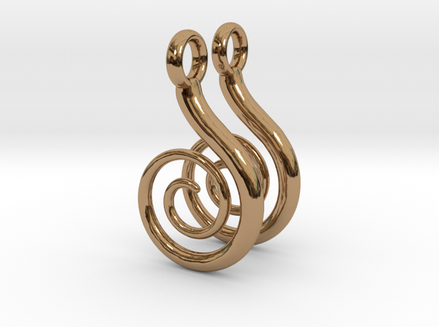 Spiral Earrings in Polished Brass