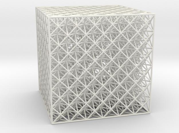 Hollow Octet Truss Cube (6x6x6) in White Natural Versatile Plastic