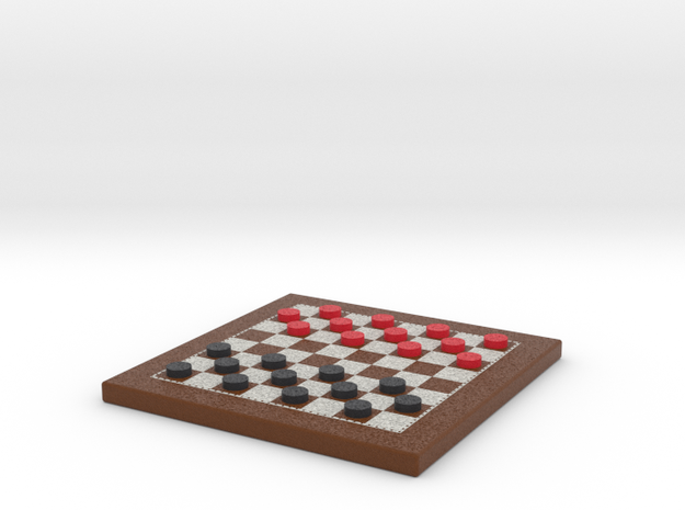 Checkers Board 1/12 Scale in Frame with Pieces