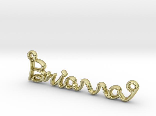BRIANNA Script First Name Pendant in 18k Gold Plated Brass