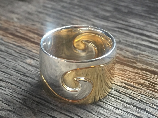 Wave Ring - Water (purchase with Wave Ring - Air) in Polished Silver: 7 / 54