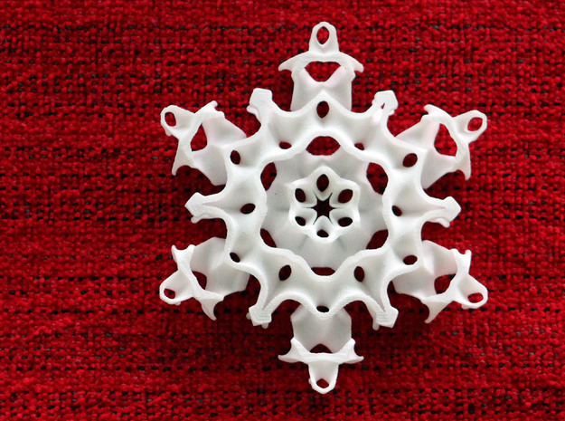 Gyroid Snowflake Ornament 1 in White Strong & Flexible Polished