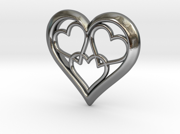 3 in 1 Hearts Pendant in Polished Silver
