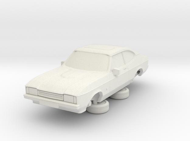 1-87 Ford Capri Mk2 3L in White Natural Versatile Plastic