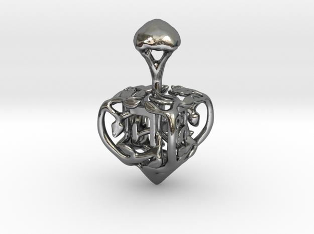 Life Dreidel in Polished Silver