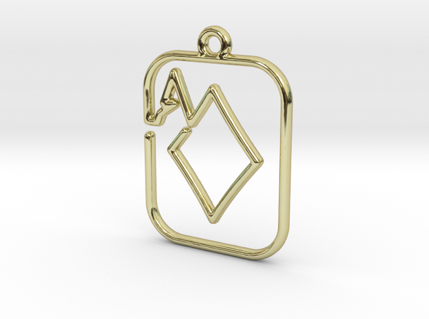 The Ace of Diamond continuous line pendant in 18k Gold Plated Brass