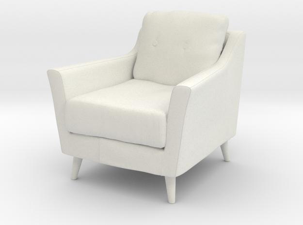 Retro Armchair in White Natural Versatile Plastic: 1:12