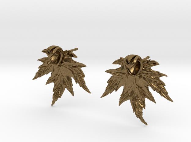 Leaf Earring Stud in Raw Bronze