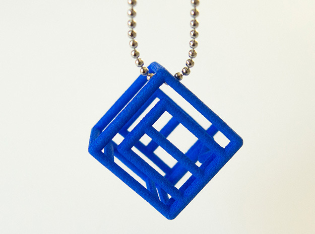 Personalized Initial Cube pendant in Blue Strong & Flexible Polished