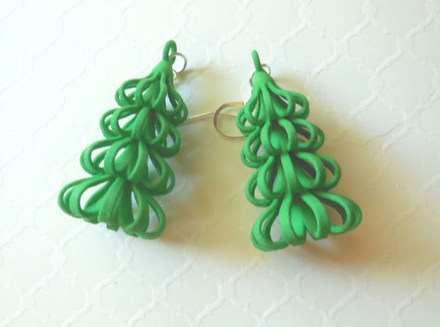 Tree - 3D Printed Earrings in Plastic