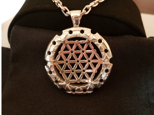 XL Flower Of Life-Fleur de vie in Polished Silver