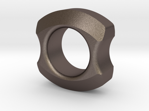 Doughnux in Polished Bronzed Silver Steel