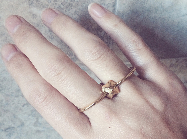 Spike Double Ring in Polished Brass: 6 / 51.5