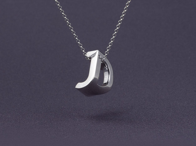 Mymo Handpolished Silver Necklace 3d printed Shown with J and D - pick any two letters or numbers
