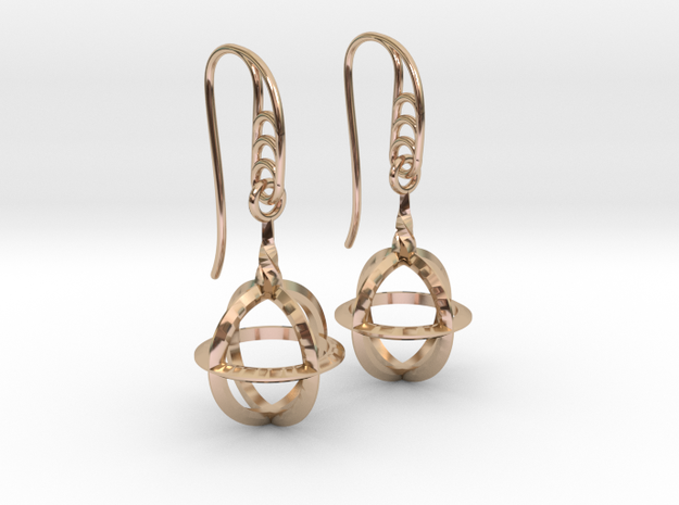 Sphere Cage (vane Hooks) in 14k Rose Gold Plated