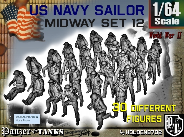 1-64 US Navy MIDWAY Set 12 in Smooth Fine Detail Plastic