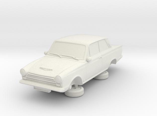1-87 Ford Cortina Mk1 2 Door in White Natural Versatile Plastic