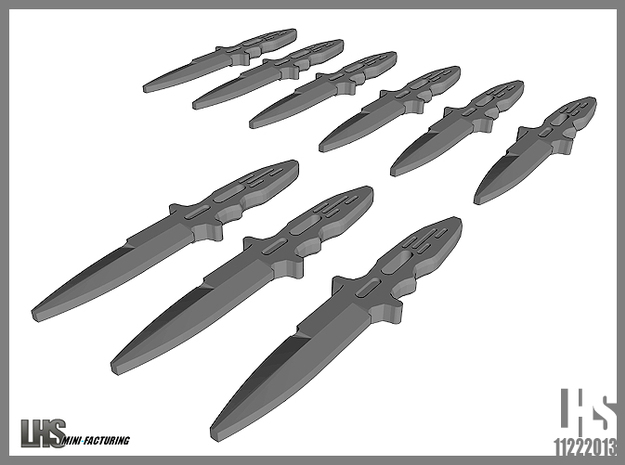 1/6 scale Elite Forces Boot Knives X9 3d printed