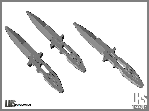 1/6 scale Elite Forces Boot Knives X3 3d printed