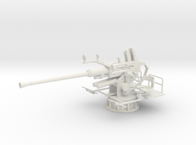 1/24 40mm Single Bofors [unElevated] in White Natural Versatile Plastic: 1:24