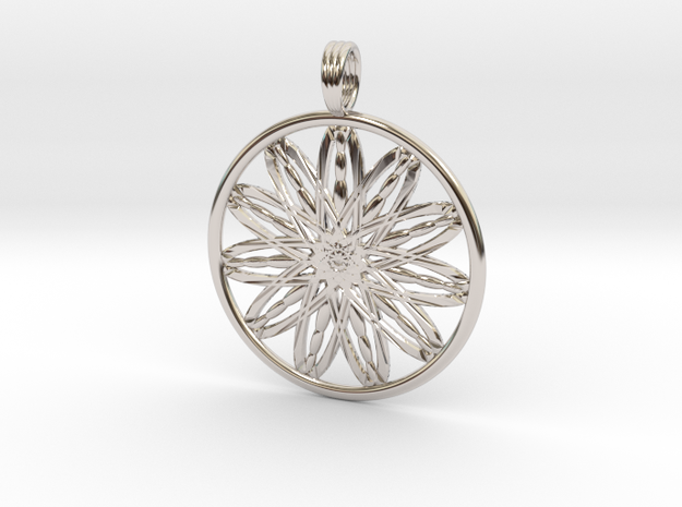 BURNING FLOWER in Rhodium Plated