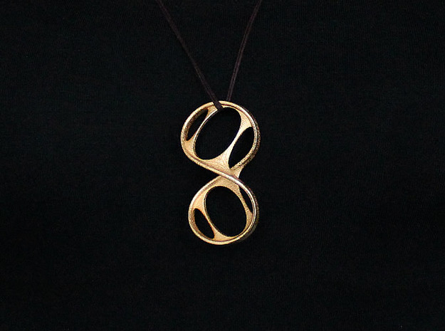 Dokuz Pendant (#2403) in Polished Gold Steel