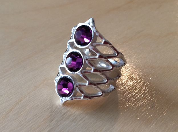 BlakOpal Lace Goth Ring in Polished Silver: 8.5 / 58