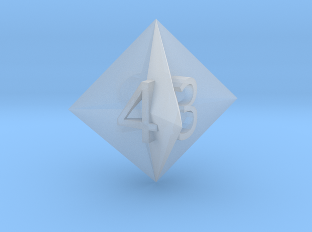 d4 Concave Octahedron in Smooth Fine Detail Plastic