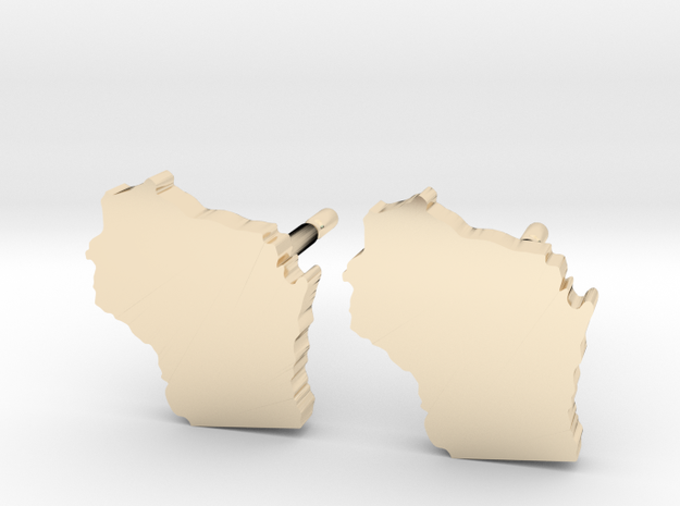 Wisconsin State Earrings, post style in 14k Gold Plated Brass