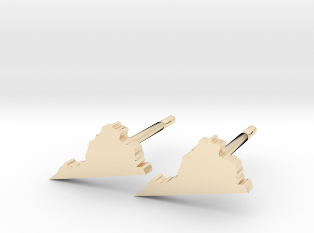 Virginia State Earrings, post style in 14k Gold Plated Brass